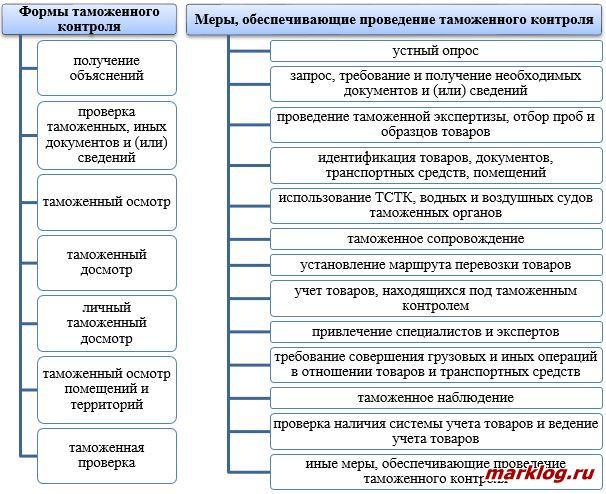 Формы и меры, обеспечивающие проведение таможенного контроля