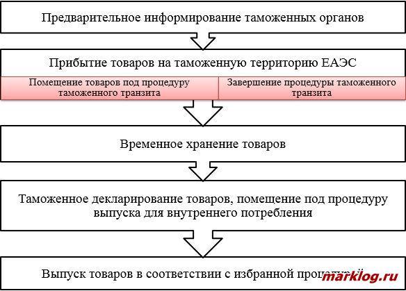 Этапы совершения таможенных операций при импорте
