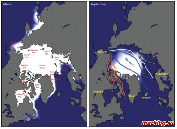 Средние минимумы и максимумы распространения льда в Северном Ледовитом океане