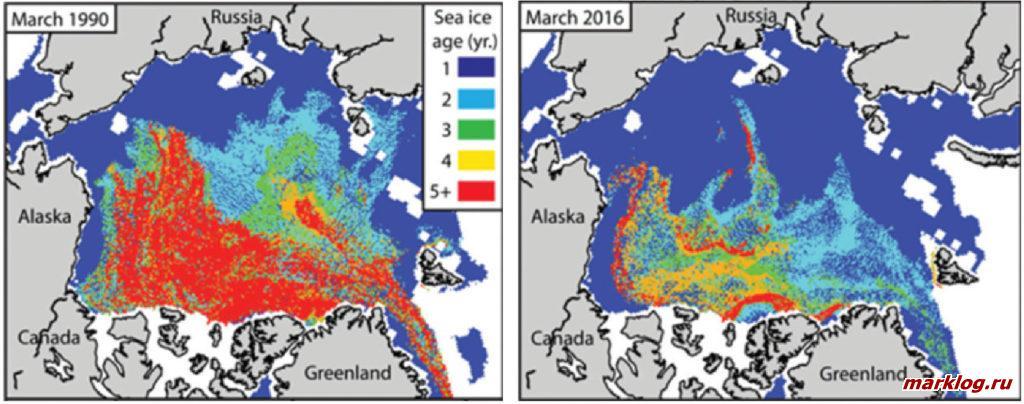Распространение льда в центральной части Северного Ледовитого океана